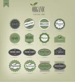 Étiquettes et éléments d'aliment biologique Images libres de droits