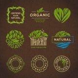 Étiquettes et éléments d'aliment biologique Photos libres de droits