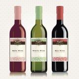 Étiquettes et bouteilles de vin rouge, blanc et rosé Photo stock