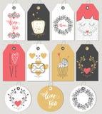 Étiquettes et cartes de cadeau de jour de valentines Photographie stock