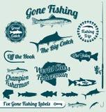 Étiquettes et collants de pêche allés Images libres de droits
