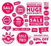 Étiquettes, insignes et rubans modernes de vente au rabais Photos stock