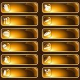 Étiquettes lustrées de nourriture de Brown et d'or Photo libre de droits