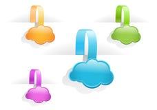 Étiquettes lustrées multicolores d'étiquette de nuage Photographie stock