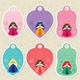 Étiquettes mignonnes de cadeau de princesse Images stock