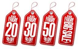 Étiquettes noires de vente de vendredi - 20%, 30%, 50%, grande vente illustration stock