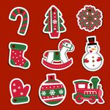 Étiquettes ou autocollants de Noël de vecteur pour des cadeaux Photos libres de droits