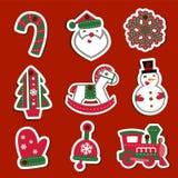 Étiquettes ou autocollants de Noël de vecteur pour des cadeaux Photo stock