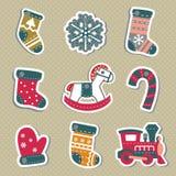 Étiquettes ou autocollants de Noël de vecteur pour des cadeaux Photographie stock