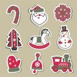 Étiquettes ou autocollants de Noël de vecteur pour des cadeaux Photos stock