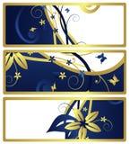 Étiquettes ou drapeaux de cadeau avec la conception florale, vecteur Image stock