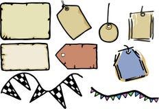 Étiquettes, papier et étiquettes Photo libre de droits