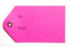 étiquettes roses de papier de cadeau Images libres de droits