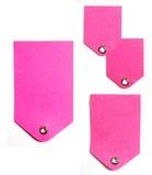 étiquettes roses de papier de cadeau Photo libre de droits