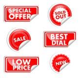 Étiquettes rouges à vendre Images stock
