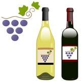 Étiquettes rouges de bouteilles de vin blanc de vigne de raisin Photographie stock
