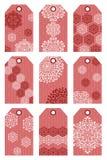 Étiquettes rouges de Noël Photo stock