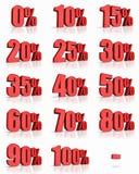 Étiquettes rouges de pour cent Photo stock