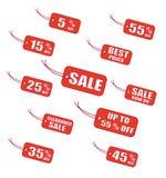 Étiquettes rouges de vente illustration de vecteur