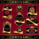 Étiquettes royales d'or Photo stock