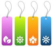 Étiquettes saisonnières de produit dans 4 couleurs Photo stock