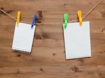 Étiquettes vides accrochantes de note avec les pinces à linge colorées Photo stock
