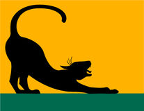Étirage de la silhouette de chat/ENV Image stock