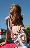 Étirage sportif mignon de fille Photographie stock