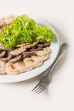 Étoffez le petit pain avec les abricots secs et le plan rapproché de salade Image stock