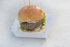 Étoffez le serverd de petit pain d'hamburger et de sauce et de sésame à mayonnaise sur la boîte de papier Photos libres de droits