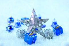 Étoile argentée de Noël Photographie stock libre de droits