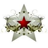 Étoile avec les éléments fleuris illustration stock