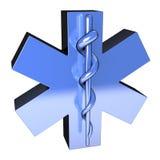Étoile bleue métallique de la vie, d'en haut à gauche Images libres de droits