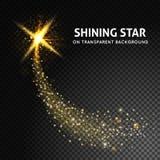 Étoile brillante sur le fond transparent foncé E-F léger de lueur Image libre de droits