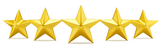 Étoile cinq évaluant les étoiles d'or brillantes Images libres de droits