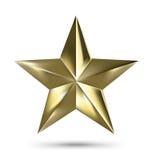 Étoile d'or d'isolement de Matallic sur le fond blanc Photos stock
