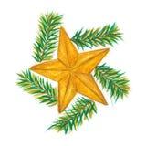 Étoile d'or de Noël illustration libre de droits