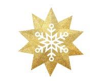 Étoile d'or de Noël avec le flocon de neige d'isolement sur le backgroun blanc Image libre de droits