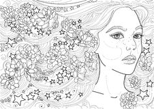 Étoile d'ornement de fleurs de cheveux de fille féerique de vecteur longue Images stock