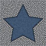 Étoile de blues-jean avec des paillettes Images libres de droits