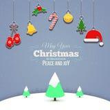 Étoile de ciel d'arbre de carte de Joyeux Noël Photo libre de droits