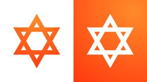 Étoile de David dans la couleur orange Symbole de Hexagram de judaism illustration stock