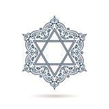 Étoile de David Ornement juif de vecteur Icône bleue sur le fond blanc illustration libre de droits