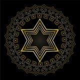 Étoile de David sur le fond noir motif religieux juif Étoile d'or de David dans le cadre de cercle avec l'antiquaire illustration stock