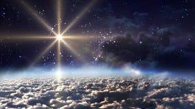 Étoile de jaune de nuit de l'espace Image stock