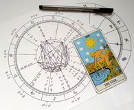 Étoile de Natal Chart Tarot Card The d'astrologie illustration libre de droits