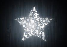 Étoile de Noël sur le bois de chêne Photo libre de droits