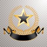 Étoile de noir de bannière de laurier illustration stock