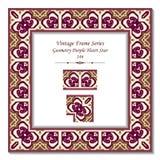 Étoile de Purple Heart de la géométrie du cadre 146 du vintage 3D Image stock