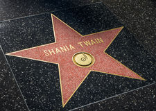 Étoile de Shania Twain sur la promenade de Hollwyood de la renommée Photo stock